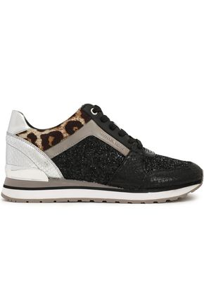 MICHAEL MICHAEL KORS Billie croc-effect leather and calf hair-trimmed glittered sneakers