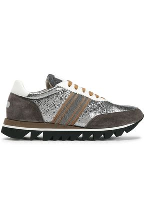 BRUNELLO CUCINELLI Suede-trimmed bead-embellished striped metallic cracked-leather sneakers
