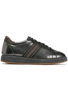 BRUNELLO CUCINELLI Suede-trimmed bead-embellished striped metallic textured-leather sneakers