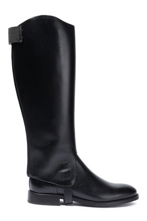 BRUNELLO CUCINELLI Convertible bead-embellished leather knee boots
