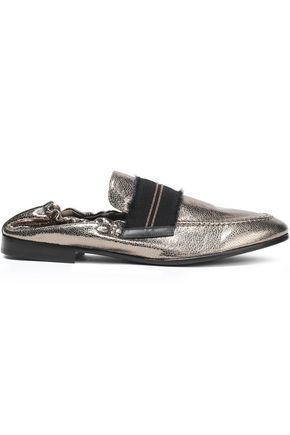 BRUNELLO CUCINELLI Bead-embellished metallic textured-leather loafers