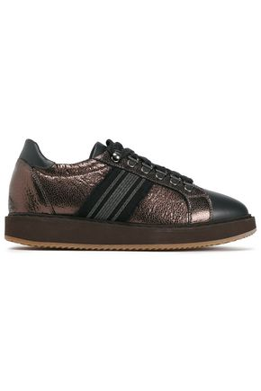 BRUNELLO CUCINELLI Suede-trimmed bead-embellished metallic and smooth textured-leather sneakers