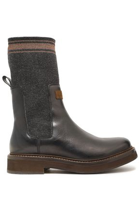 BRUNELLO CUCINELLI Stretch-knit and leather-paneled boots