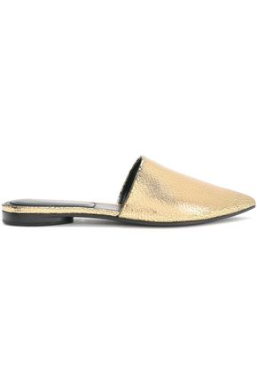 MICHAEL KORS COLLECTION Metallic textured-leather slippers
