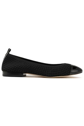 MICHAEL MICHAEL KORS Vicky patent leather-trimmed crocheted ballet flats