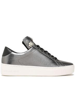 MICHAEL MICHAEL KORS Mindy embellished metallic leather sneakers