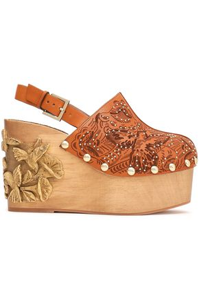 RED(V) Studded laser-cut leather platform wedges