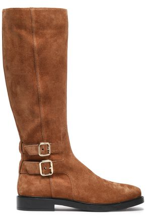 TOD'S Buckle-embellished suede knee boots