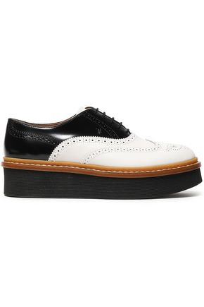 TOD'S Perforated two-tone leather platform brogues