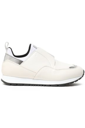 TOD'S Metallic-paneled leather and neoprene slip-on sneakers