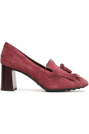 TOD'S Tasseled fringed suede pumps