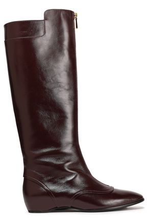 TOD'S Glossed-leather knee boots