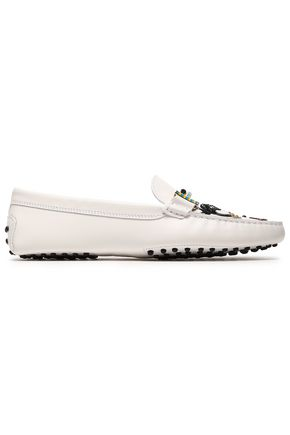 TOD'S Glittered appliquéd leather loafers