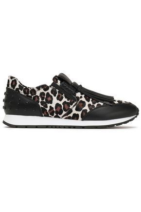 TOD'S Fringed studded leopard-print leather and calf hair slip-on sneakers