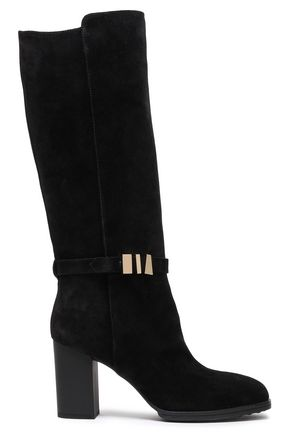 TOD'S Gold tone-trimmed suede knee boots