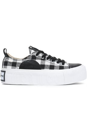 McQ Alexander McQueen Plimsoll leather-trimmed gingham canvas platform sneakers