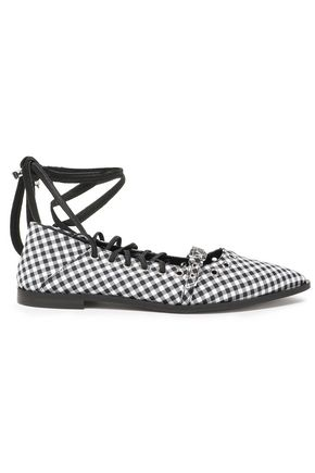 McQ Alexander McQueen Ring-embellished woven point-toe flats