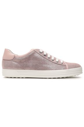 TOD'S Patent leather-trimmed nubuck sneakers