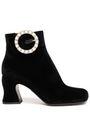 McQ Alexander McQueen Kitty embellished velvet ankle boots