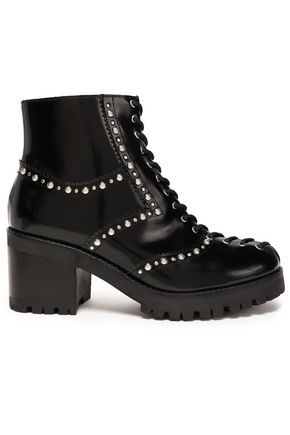 McQ Alexander McQueen Hanna studded polished leather ankle boots