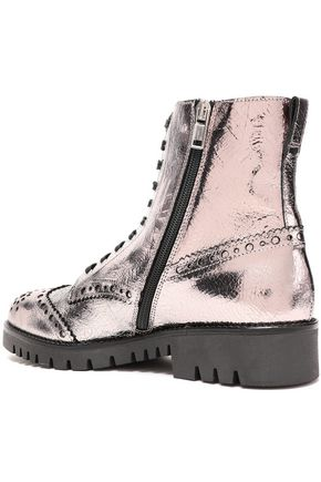 McQ Alexander McQueen Bess Derby cracked leather ankle boots