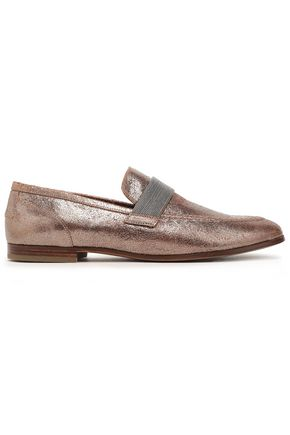 BRUNELLO CUCINELLI Bead-embellished cracked-leather loafers