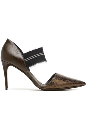 BRUNELLO CUCINELLI Bead-embellished frayed textured-leather pumps