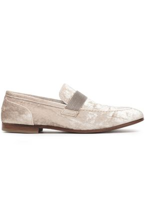 BRUNELLO CUCINELLI Bead-embellished velvet loafers