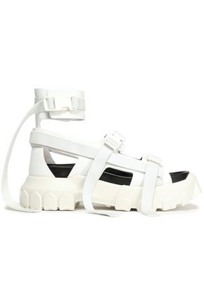RICK OWENS Leather and canvas platform sandals