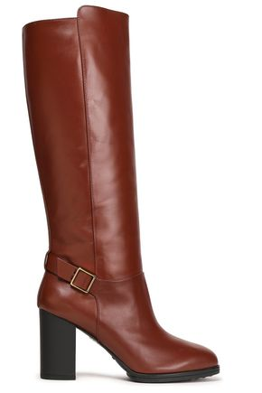 TOD'S Buckle-embellished leather knee boots