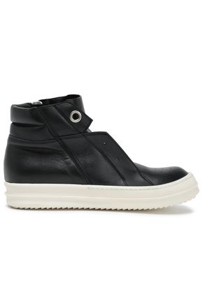 RICK OWENS Island Dunk zip-detailed leather high-top sneakers