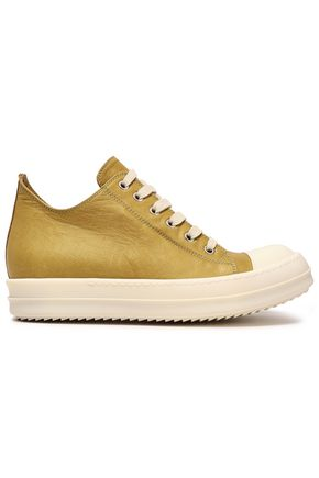 RICK OWENS Rubber-trimmed leather sneakers