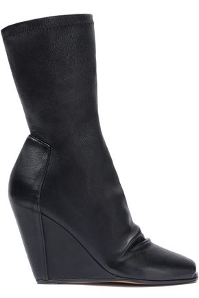 RICK OWENS Gathered stretch-leather wedge sock boots