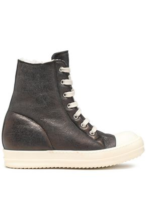 RICK OWENS Shearling-lined metallic leather sneakers