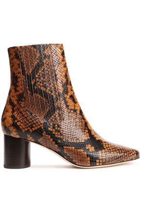 SANDRO Luka snake-effect leather ankle boots
