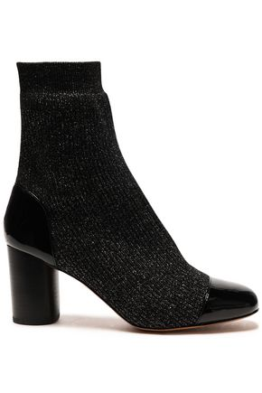 SANDRO Patent leather-trimmed ribbed-knit ankle boots