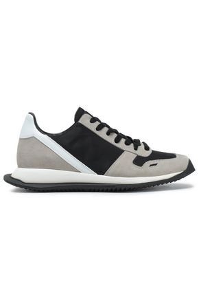 RICK OWENS Leather-trimmed suede-paneled shell sneakers