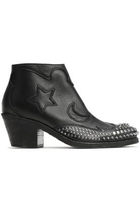 McQ Alexander McQueen Solstice studded textured-leather ankle boots