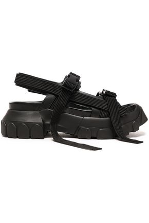 RICK OWENS Grosgrain-trimmed leather platform sandals