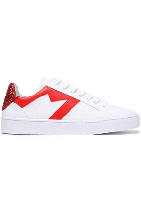 MAJE Glitter-paneled leather-trimmed canvas sneakers