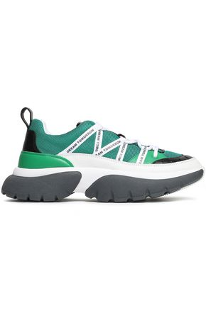 MAJE Mesh and textured-leather sneakers