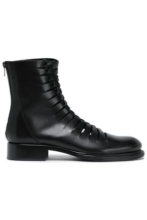 ANN DEMEULEMEESTER Braided leather ankle boots