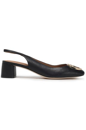 TORY BURCH Buckle-embellished leather slingback pumps