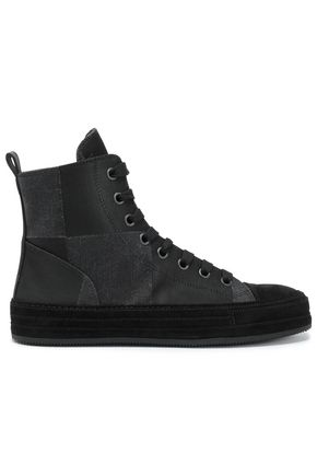 ANN DEMEULEMEESTER Faux suede-trimmed paneled twill high-top sneakers