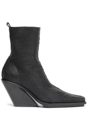 ANN DEMEULEMEESTER Woven leather ankle boots