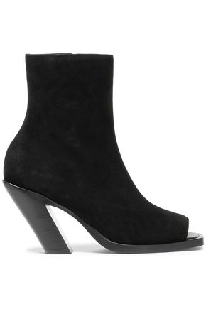 ANN DEMEULEMEESTER Cutout suede ankle boots