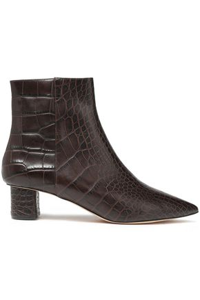 NANUSHKA Croc-effect leather ankle boots