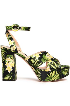 GIANVITO ROSSI Roxy floral-print satin platform sandals