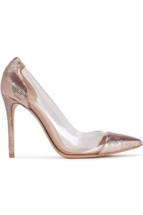 GIANVITO ROSSI Palladium silk-satin and Perspex pumps