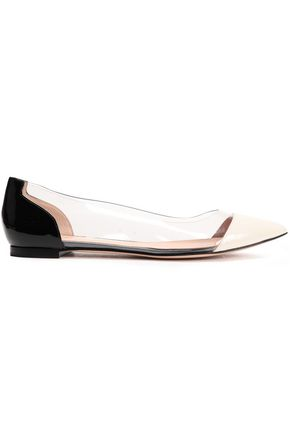 GIANVITO ROSSI Patent-leather and PVC-paneled point-toe flats
